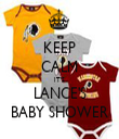 KEEP CALM IT'S LANCE'S BABY SHOWER - Personalised Tea Towel: Premium