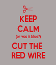KEEP CALM (or was it blue?) CUT THE  RED WIRE - Personalised Tea Towel: Premium