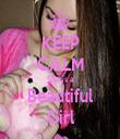KEEP CALM She is a Beautiful Girl - Personalised Tea Towel: Premium