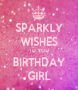 SPARKLY WISHES TO YOU BIRTHDAY GIRL - Personalised Tea Towel: Premium