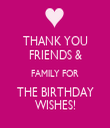 THANK YOU FRIENDS & FAMILY FOR THE BIRTHDAY WISHES! - Personalised Tea Towel: Premium