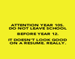 ATTENTION YEAR 10S. DO NOT LEAVE SCHOOL BEFORE YEAR 12. IT DOESN'T LOOK GOOD ON A RESUME. REALLY. - Personalised Poster large