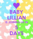 BABY LILLIAN IS JOINING US IN 5 DAYS - Personalised Poster large