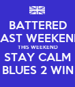 BATTERED LAST WEEKEND THIS WEEKEND STAY CALM BLUES 2 WIN - Personalised Poster large