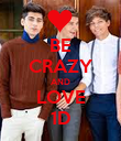 BE CRAZY AND LOVE 1D - Personalised Poster large