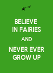 BELIEVE  IN FAIRIES AND NEVER EVER GROW UP - Personalised Poster large