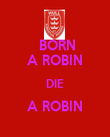 BORN A ROBIN DIE A ROBIN  - Personalised Poster large