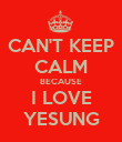 CAN'T KEEP CALM BECAUSE I LOVE YESUNG - Personalised Poster large