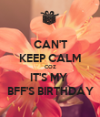 CAN'T KEEP CALM COZ IT'S MY  BFF'S BIRTHDAY - Personalised Poster large
