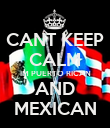 CANT KEEP CALM IM PUERTO RICAN AND MEXICAN - Personalised Poster large