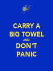 CARRY A BIG TOWEL AND DON'T PANIC - Personalised Poster large