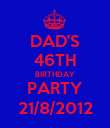 DAD'S 46TH BIRTHDAY PARTY 21/8/2012 - Personalised Poster large
