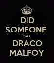 DID SOMEONE  SAY DRACO MALFOY - Personalised Poster large