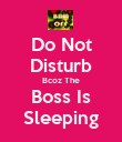 Do Not Disturb Bcoz The Boss Is Sleeping - Personalised Poster large
