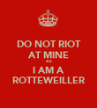 DO NOT RIOT AT MINE AS I AM A ROTTEWEILLER - Personalised Poster large