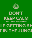 DON'T KEEP CALM AND SHIT YOURSELF WHILE GETTING SHOT  AT IN THE JUNGLE - Personalised Poster large