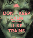DON`T KEEP CALM BECAUSE I LIKE TRAINS - Personalised Poster large