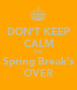 DON'T KEEP CALM Cuz  Spring Break's OVER - Personalised Poster large