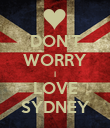 DON'T WORRY I LOVE SYDNEY - Personalised Poster large