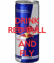 DRINK RED BULL  AND FLY - Personalised Poster small