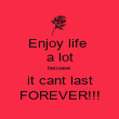Enjoy life  a lot becuase it cant last FOREVER!!! - Personalised Poster large