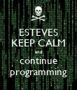 ESTEVES KEEP CALM and continue programming - Personalised Poster large