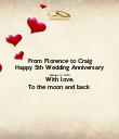 From Florence to Craig Happy 5th Wedding Anniversary February 14, 2020 With love, To the moon and back - Personalised Poster large