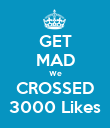 GET MAD We CROSSED 3000 Likes - Personalised Poster large