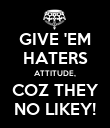GIVE 'EM HATERS ATTITUDE, COZ THEY NO LIKEY! - Personalised Poster large