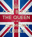 GOD BLESS THE QUEEN ON HER  DIAMOND JUBILEE - Personalised Poster large