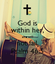 God is within her, she will not fail. Psalm 46:5 - Personalised Large Wall Decal