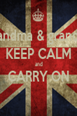 grandma & grandad KEEP CALM  and  CARRY ON  - Personalised Poster large