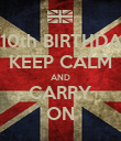 HAPPY 10th BIRTHDAY CATE KEEP CALM AND CARRY ON - Personalised Poster large