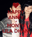 HAPPY ANNIV 4 MONTH LILA DHANI - Personalised Poster large