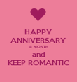 HAPPY ANNIVERSARY 8 MONTH and KEEP ROMANTIC - Personalised Poster large