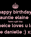 happy birthday  auntie elaine   have a gid day  ur neice loves u lots  love danielle :) xx x  - Personalised Poster large