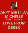 HAPPY BIRTHDAY MICHELLE LOVE YOU LOADS LOVE FROM DEREK - Personalised Poster large