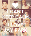 I CAN'T KEEP CALM BECAUSE I LOVE JAY PARK - Personalised Poster large