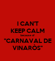 "I CAN'T KEEP CALM because of ""CARNAVAL DE VINARÒS"" - Personalised Poster large"
