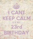 I CANT KEEP CALM IT'S MY 23rd BIRTHDAY - Personalised Poster large
