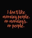 I don't like  morning people, or mornings, or people. - Personalised Poster large
