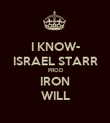 I KNOW- ISRAEL STARR PROD IRON WILL - Personalised Poster large