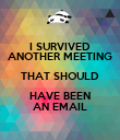 I SURVIVED ANOTHER MEETING THAT SHOULD HAVE BEEN AN EMAIL - Personalised Poster large