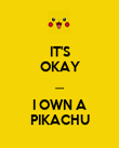 IT'S OKAY .... I OWN A PIKACHU - Personalised Poster large