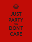 JUST PARTY AND DON'T CARE - Personalised Poster large