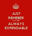 JUST REMEBER YOU ARE ALWAYS EXPENDABLE - Personalised Poster large
