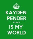 KAYDEN  PENDER ROSS IS MY  WORLD - Personalised Poster large
