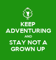KEEP ADVENTURING AND STAY NOT A GROWN UP - Personalised Poster large