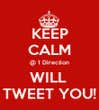 KEEP CALM @ 1 Direction WILL  TWEET YOU! - Personalised Poster large