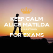 KEEP CALM ALICE MATILDA IS STUDYING FOR EXAMS  - Personalised Poster large